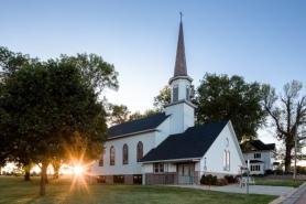 church pic w sun