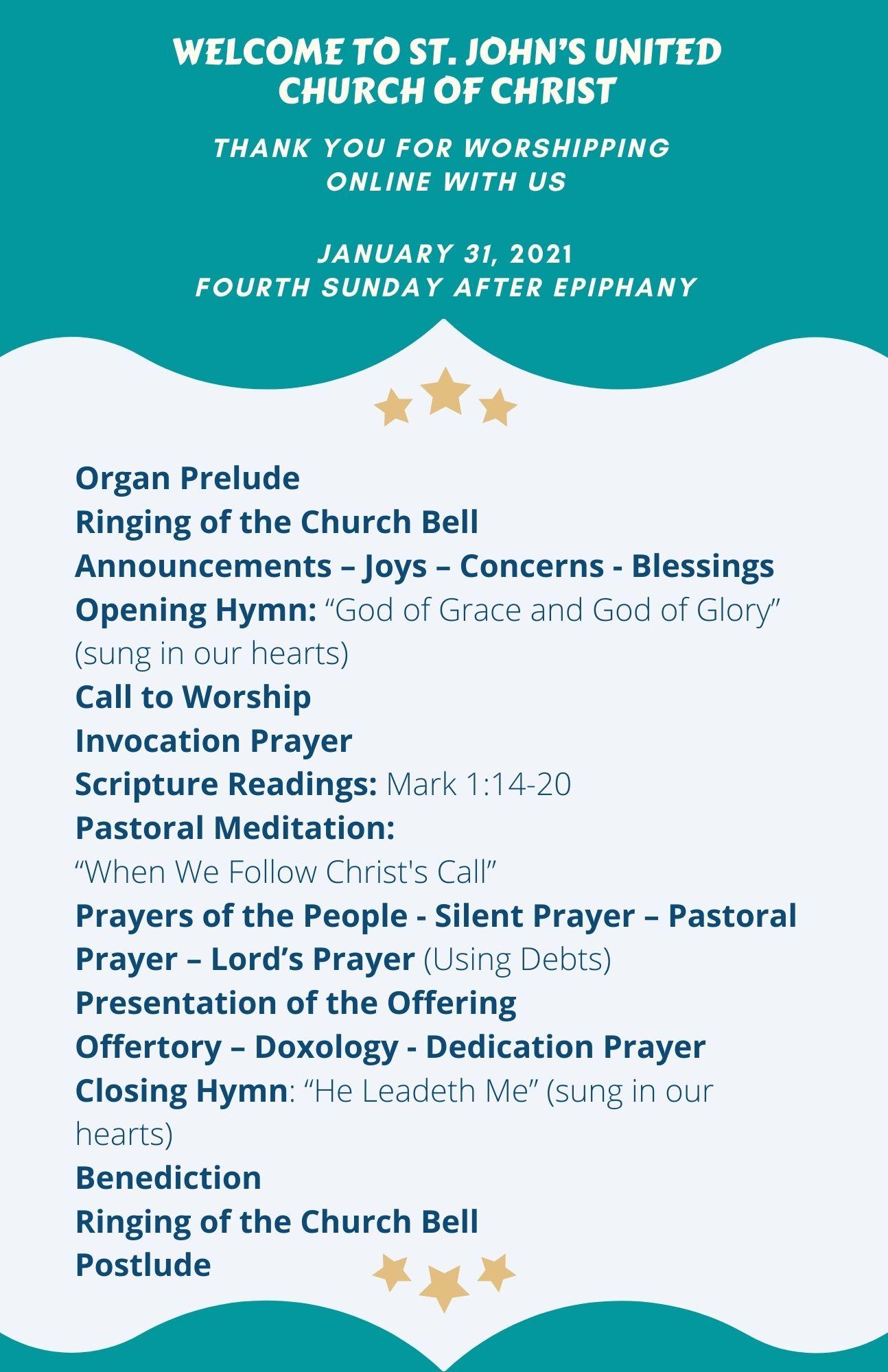 Online Order of Worship-2021-01-31