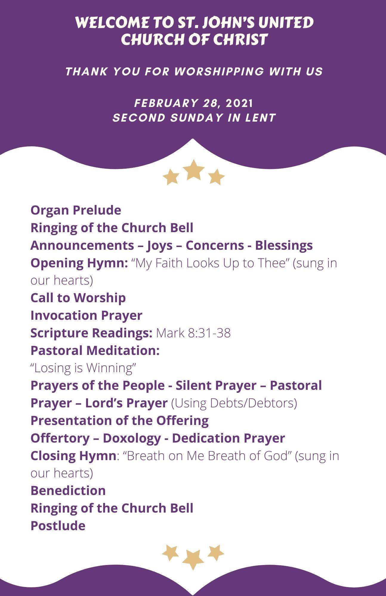 Online Order of Worship-2021-02-28